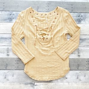 Free People Ice Cold Lace Up Top in Sun Fade